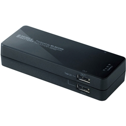 【クリックで詳細表示】スマートフォン用2ポート搭載モバイルバッテリー/5200mAh/ブラック DE-M01L-1920BK